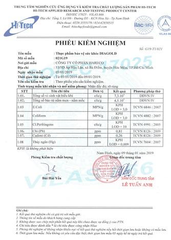 giấy chứng nhận diagold